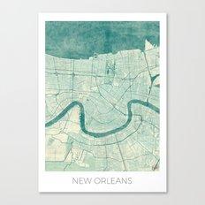 New Orleans Map Blue Vintage Canvas Print
