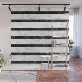 marble horizontal stripe pattern - white marble black marble Wall Mural