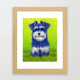 Colorful Miniature Schnauzer Dog Pet Portrait Framed Art Print