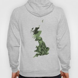 Great Britain Map Print Abstract in Army Camouflage Greens - A great talking piece for the home! Hoody