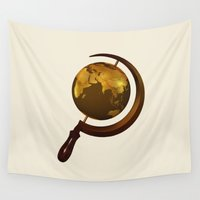 globe Wall Tapestries featuring Workers of the Globe by Nicholas Ely