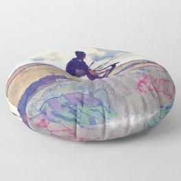 Graffitti Glide Stunt Scooter Sports Artwork Floor Pillow
