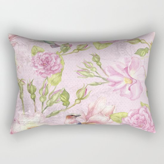 Floral painterly background in pink with Roses Flowers and Birds Rectangular Pillow