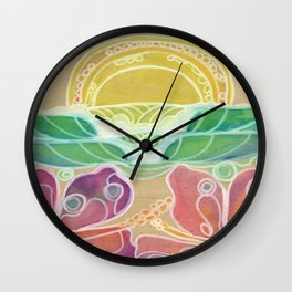 Double Hibiscus Surf Art by Lauren Tannehill Art Wall Clock
