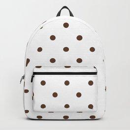 Polka Dots Pattern: Chocolate Brown Backpack
