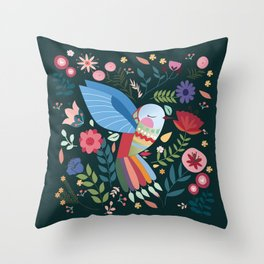 Folk Art Inspired Hummingbird With A Flurry Of Flowers Throw Pillow