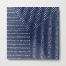 Lines / Navy Metal Print
