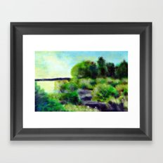 Painting of a pond Framed Art Print