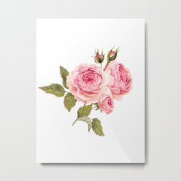 Lonely Pink Rose Floral Kingdom Sumptuous Fantasy Flower Pattern Metal Print