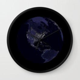 Earth Globe Lights Wall Clock