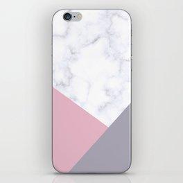 Purple, pink & white marble iPhone Skin