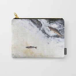 Two salmon leaping up the waterfall Carry-All Pouch