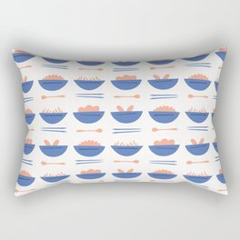 Asian Food Soup Bowl Vector Pattern Rectangular Pillow