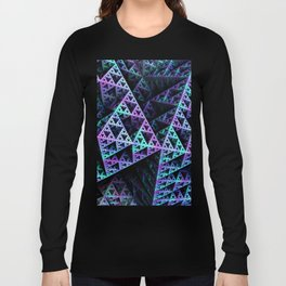 Lilac Ice 3D Sierpinski Triangle Fractal Art Long Sleeve T-shirt
