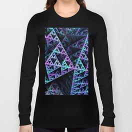 Lilac Ice 3D Sierpinski Triangle Fractal Art Long Sleeve T-shirt