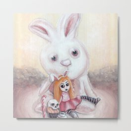 Ester and Bunny Metal Print