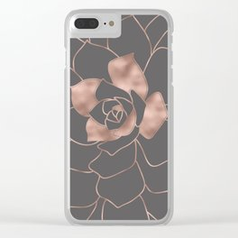 Rosegold  blossom on grey - Pink metal - effect flower Clear iPhone Case