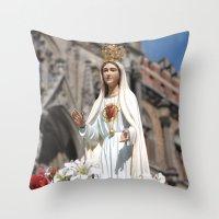 madonna Throw Pillows featuring Madonna by Frau Fruechtnicht