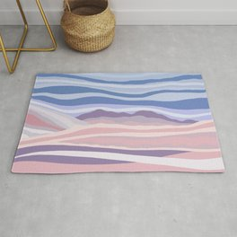 Bohemian Waves // Abstract Baby Blue Pinkish Blush Plum Purple Contemporary Light Mood Landscape  Rug