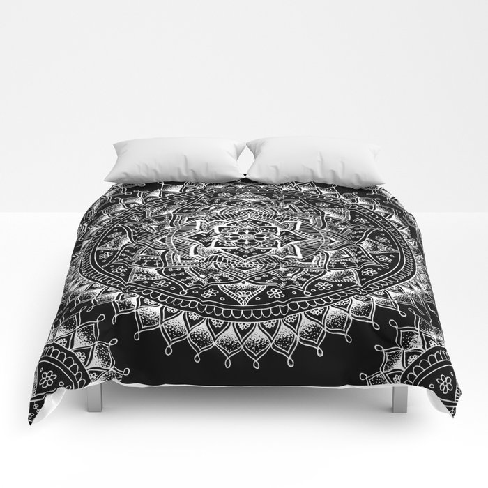 White flower mandala on black comforters by laurelmae society6 white flower mandala on black comforters mightylinksfo