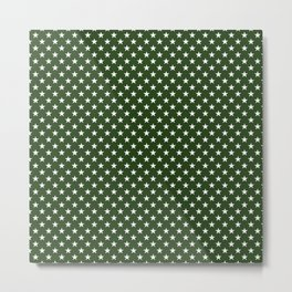 White Five Pointed Stars on Dark Forest Green Metal Print