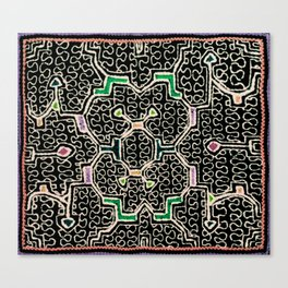 Song for Good Work - Traditional Shipibo Art - Indigenous Ayahuasca Patterns Canvas Print