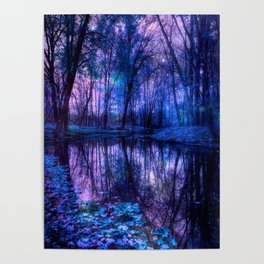 Enchanted Forest Lake Purple Blue Poster