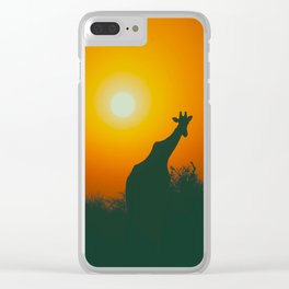 Lonely Sunset Giraffe Clear iPhone Case
