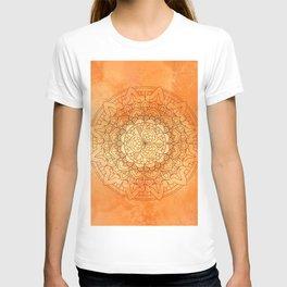 Watercolor Mandala Pattern Orange T-shirt