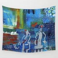 couple Wall Tapestries featuring Couple by Nathalie Gribinski