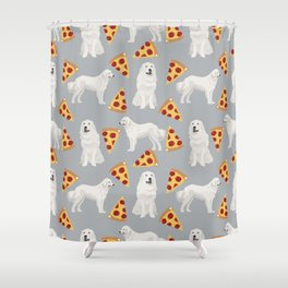 Great Pyrenees pizza dog portrait custom dog breed art print dog person gifts for christmas Shower Curtain