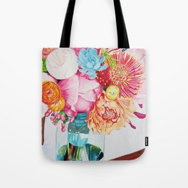 Flowers in a vase - Watercolour painting Tote Bag