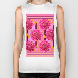 SHADES OF PINK DAHLIAS YELLOW BUTTERFLIES Biker Tank