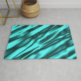 A chaotic cluster of light blue bodies on a light background. Rug