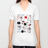 50s V-neck T-shirts featuring Mushroom Berries Nuts and Fruits / Classic 50s pattern by In The Modern Era