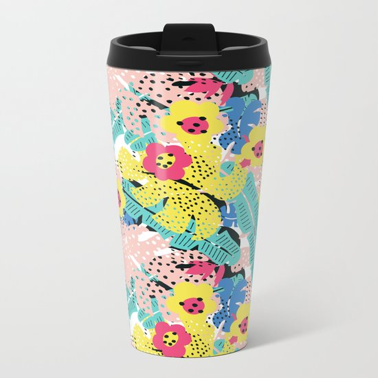 Tropical floral pattern Metal Travel Mug
