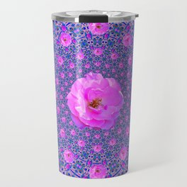 ORNATE THOUSANDS PINK ROSES & BLUE  ABSTRACT Travel Mug