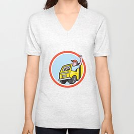 Delivery Truck Driver Waving Circle Cartoon Unisex V-Neck