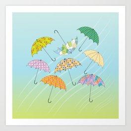Dance of Umbrellas Art Print