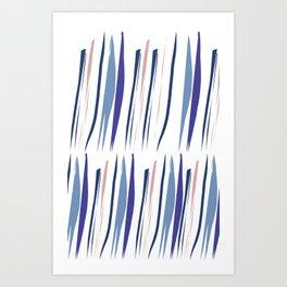 Indigo brush strokes Art Print