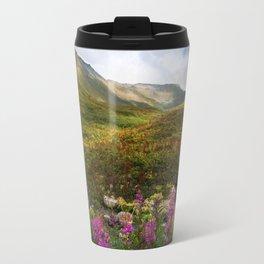 Fireweed Valley Alaska - Mountian Landscape Travel Mug