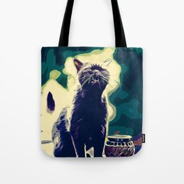 british shorthair cat ready to attack vector art foggy night Tote Bag