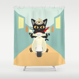 Scooter in the town Shower Curtain