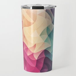 Geometry Triangle Wave Multicolor Mosaic Pattern - (HDR - Low Poly Art) - FULL Travel Mug