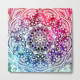 Namaste Red Purple Blue Mandala Metal Print