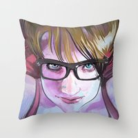 sarah paulson Throw Pillows featuring Sarah by Marc Scheff