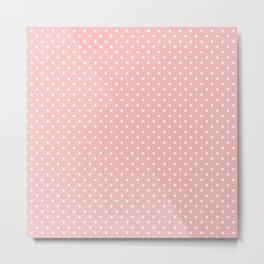 Mini Powder Pink with White Polka Dots Metal Print