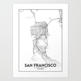 Minimal City Maps - Map Of San Francisco, California, United States Art Print