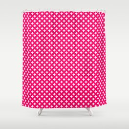 Small White Crosses on Hot Neon Pink Shower Curtain
