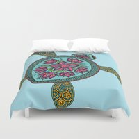 turtle Duvet Covers featuring Turtle by Two Legged Monster Boutique